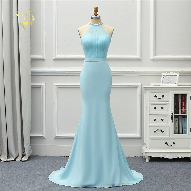 Jeanne Love Formal Luxury Long Evening Dress 2019 New Arrival Halter Blue Sky Mermaid Robe De Soiree Vestido De Festa OL5235