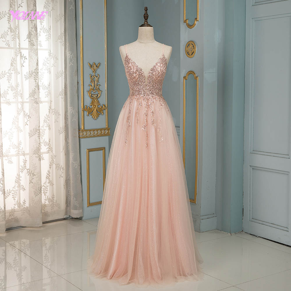 Sexy Blush Pink Long Prom Dresses Spaghetti Tulle Beaded Backless Evening Gowns YQLNNE