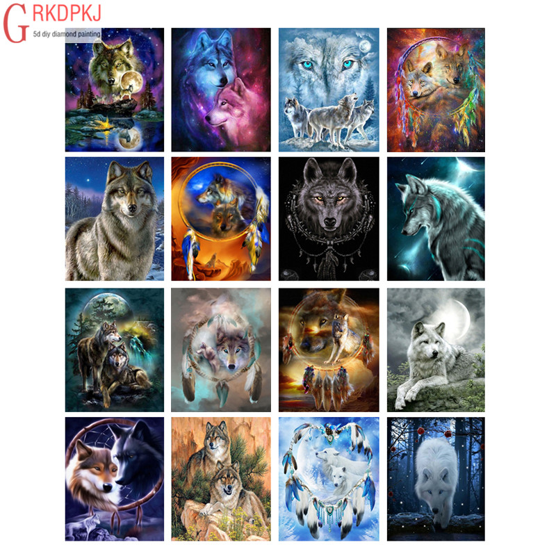 DIY Diamond Painting Wolf 5D Cross Stitch Pattern Full Round Diamond Embroidery Moon Wolf Fashion Art Gift Rhinestone Home Decor