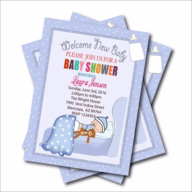 20 Pcs Lot Personalized New Born Baby Shower Invites Birthday Party