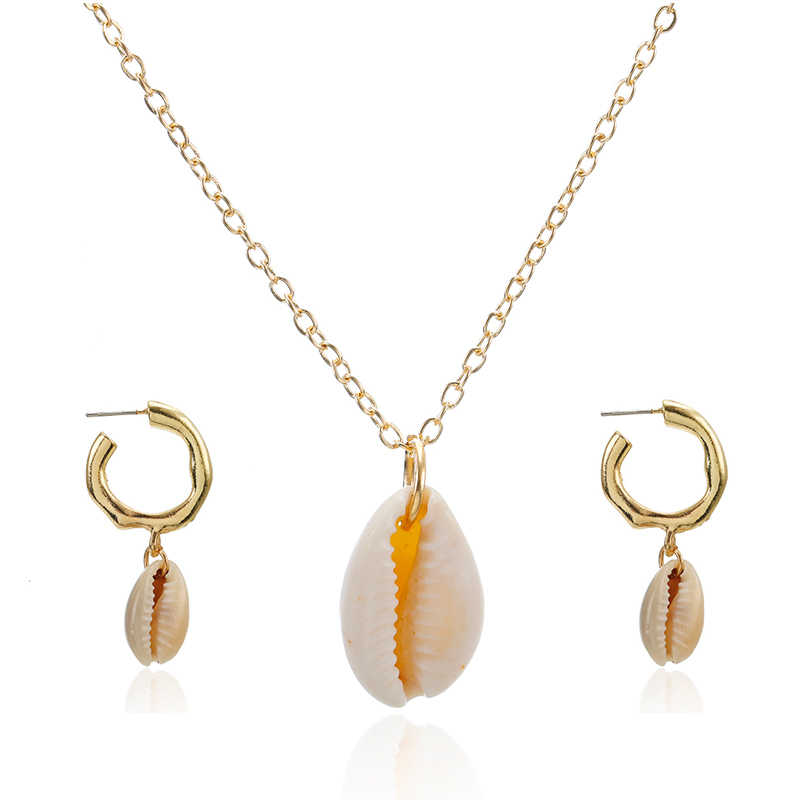 Three Layers of Shell Pendant Necklace Natural Shell Women Seashell Necklace set Bohemian Jewelry