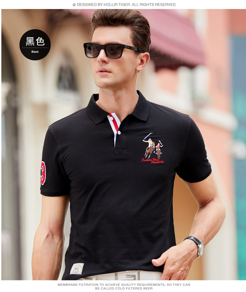 Fashion Summer Short Sleeve Solid Polo Shirt Men Cotton Print Slim Casual Polos Breathable Embroidery  Shirt Mens ClothingYP9099 16