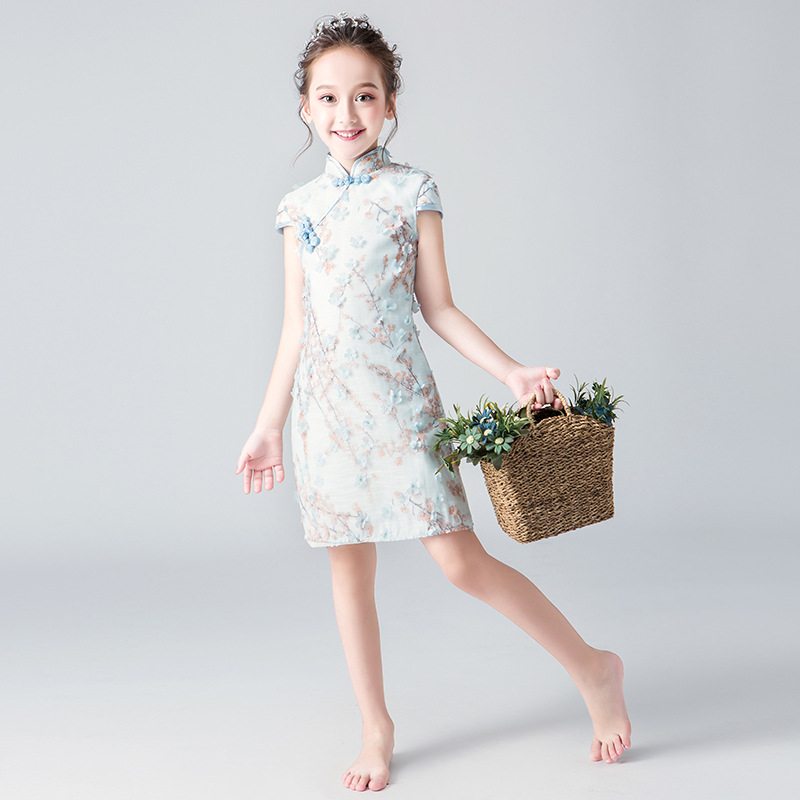 2019 Elegant High Neck   Flower   Beads Organza Sheath   Flower     Girl     Dresses   For Wedding Special Occasion   Dresses   Short Party Gowns
