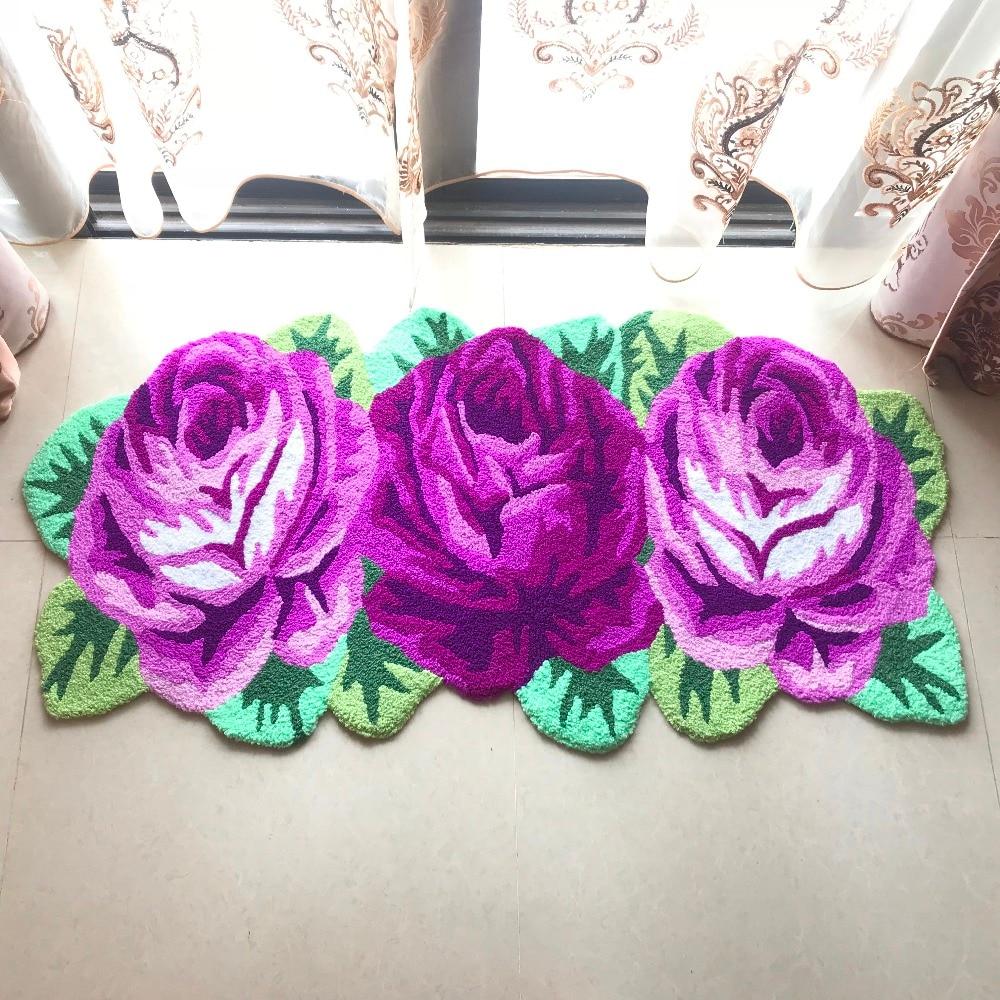 Hot sales high quality handmade 3 slitless rose art rug for bedroom bedside mat bedsize carpet