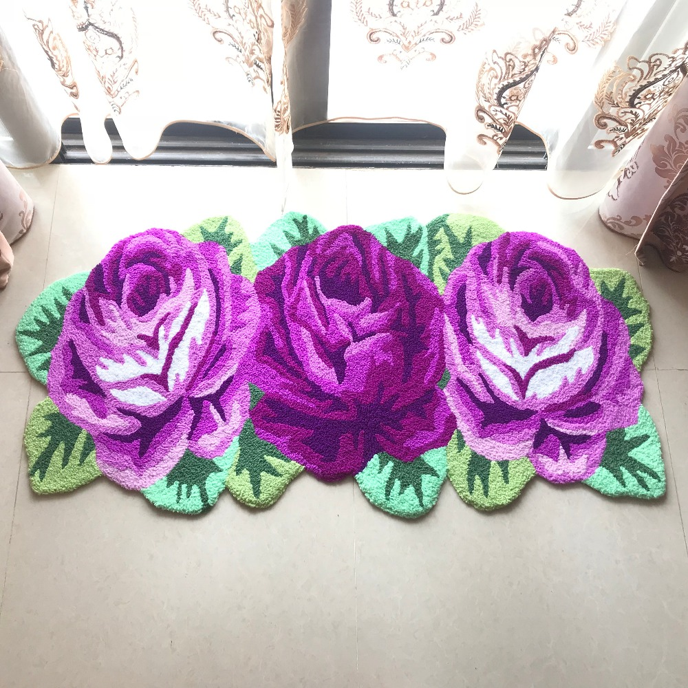 Ev ve Bahçe'ten Kilim'de Sıcak satış yüksek kalite el yapımı 3 slitless gül sanat halı için yatak odası/başucu sanat 3D halı romantik gül 126*65 cm'da  Grup 1