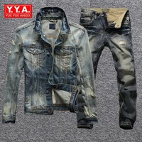 Ripped Denim Coat Male Korean Version Fashion Vintage Mens Ropa Jacket Spring Fall Cool Slim Fit Mens Sets Pants Streetwear