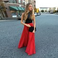 Fashion New Arrival Chiffon Long Red Chiffon Skirts For Women Pleat Zipper Style Floor Length Skirt Custom Made 2016