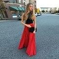 Moda de Nova Chegada Chiffon Vermelho Longo Chiffon Saias Para As Mulheres Plissado Zipper Estilo Saia Até O Chão Custom Made 2016