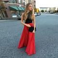 Moda de Nueva Llegada de La Gasa Roja Larga de La Gasa Faldas Estilo de La Cremallera De Las Mujeres Plisado Falda hasta el Suelo Por Encargo 2016