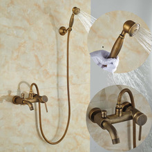 Wall mount Single Handle Bath Shower Faucet With Handshower Antique Brass Bathroom Shower Mixer Tap