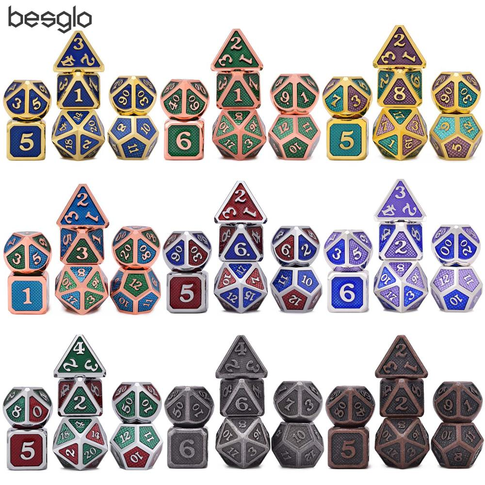 Battleworn Silber Set von 7 Metall Würfel Sterben D4 D6 D8 D10 (00-90,0-9) d12 D20 für Rolle Spielen Spiele Dungeons und Drachen Pathfinder