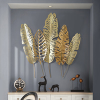 Gold Wrought Iron Palm Tree Leaf Living Room Light Luxury Wall Decoration Three Dimensional Porch Restaurant Wall Hanging R1342
