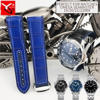 19mm 20mm 21mm 22mm Nylon Leather Watch Strap Rubber Silicone Folding Buckle Watchband for Omega Seamaster Speedmaster Watch