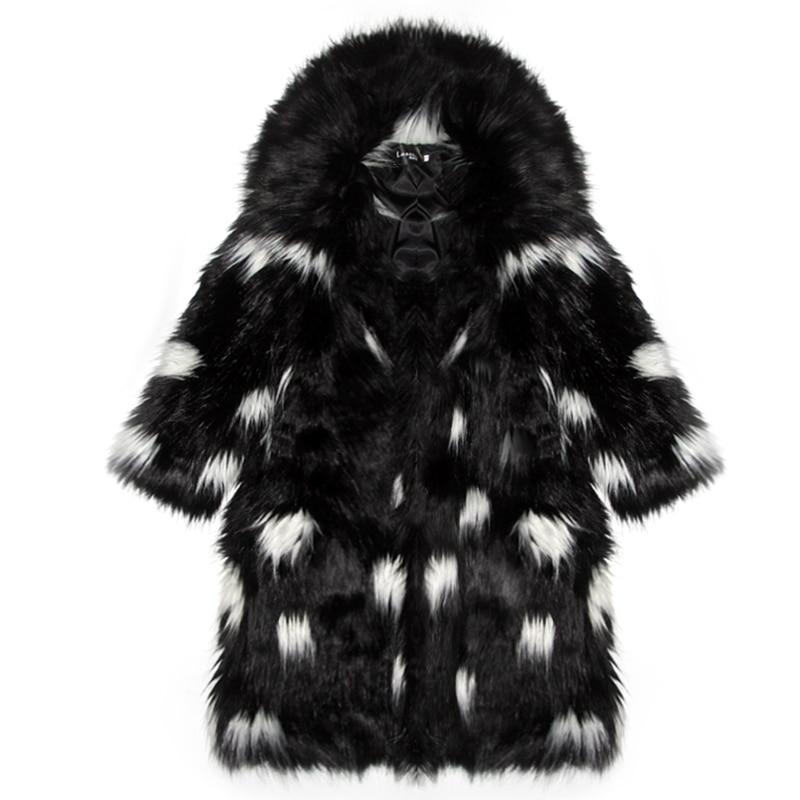 Thermique Couleur Gtgyff Conception Manteaux Manteau Chaud D'hiver Bloc Veste Grand Col Avec Longue Fausse En Noir Blanc Fourrure Femmes qSpfAwS
