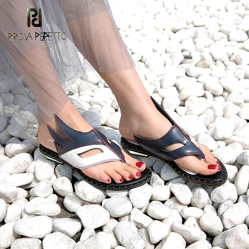 Prova Perfetto fashion new low heel flip flop shoes popular style mixed color genuine leather cozy women outside summer sandals prova perfetto rome style mixed color tassel flowers summer sandals shoes thick heel wedge platform clip toe sandals for women