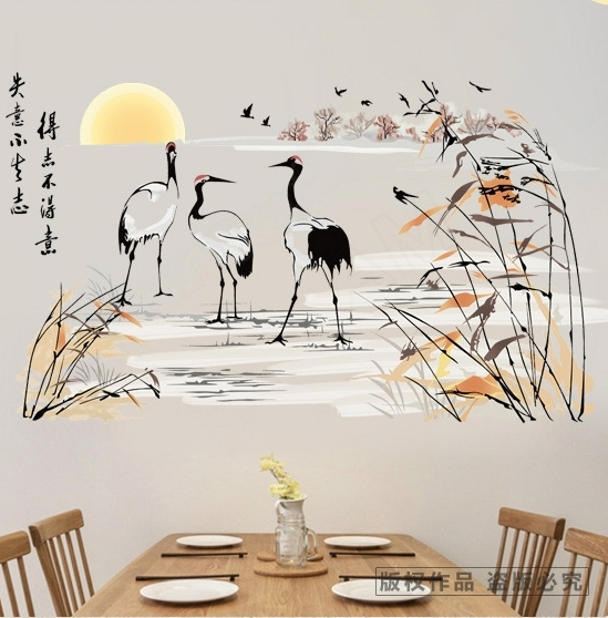 China Style Crane Reed Wall Stickers Decals Classical Landscape Poster  Vinyl Wallpaper Adult Home Livingroom Salon Hotel Decor In Wall Stickers  From Home ... Part 89