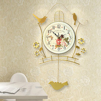 Luminous modern decoration European wall clock fashionable sitting room the bedroom creative personality birds clocks