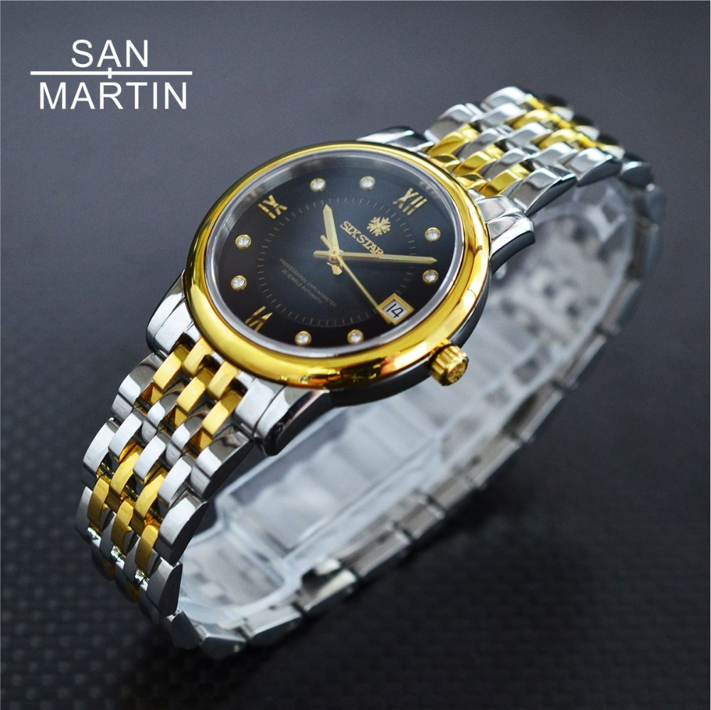 San Martin Sixstar Men Women Automatic Watch Swiss ETA2824 MOV'T Stainless Steel Watch 50m Water Resistant Mechanical wristwatch александр островский последняя жертва