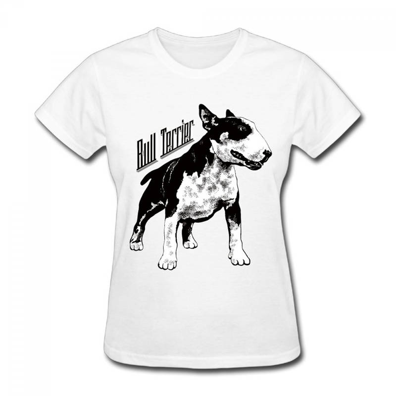 Casual Printed Tee New Style Women  Cotton Bull Terrier O-Neck Short-Sleeve Shirt