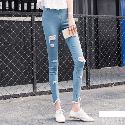Leggings Jeans for Women Denim Pants Women's Summer High Stretched Leggings Hole Jeans Leggings Pants Thin Pencil Pants ML09