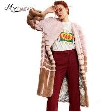 M. Y. FANSTY импортный норковый уровень, Женская контрастная норковая шуба в полоску, с круглым вырезом, натуральный мех, яркая X-длинная норка, пальто
