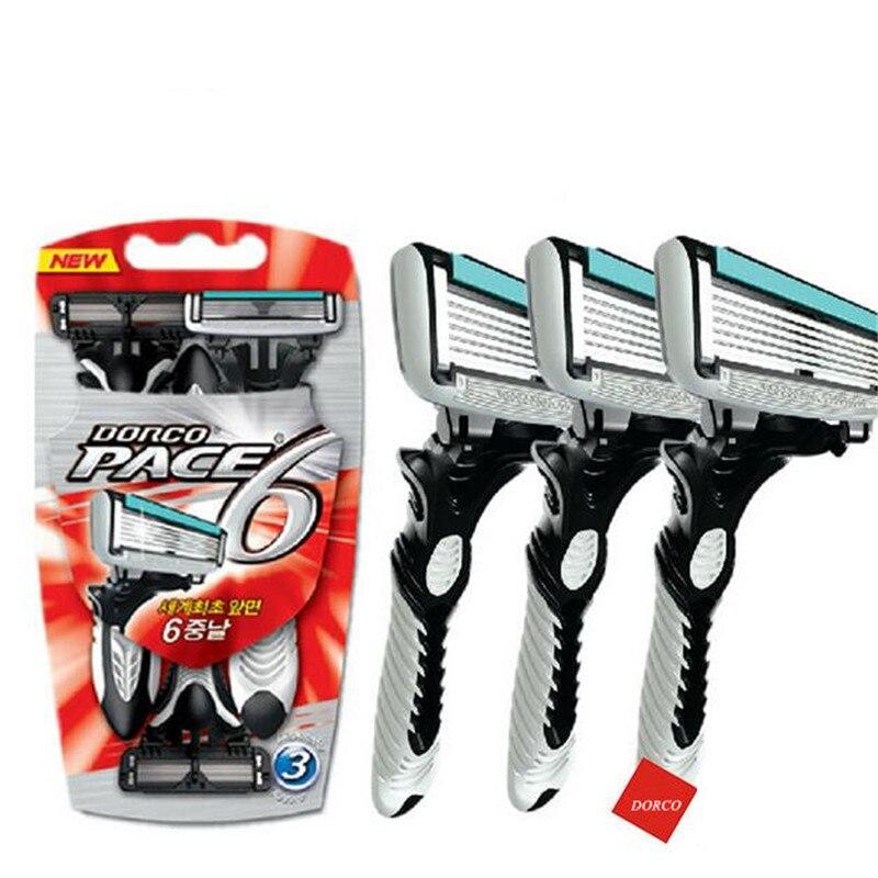 157.65руб. 32% СКИДКА|1 шт./3 шт. мужские бритвенные лезвия кассеты для бритья, электробритва DORCO Pace 6 слоев прямой бритвенный станок для бороды|Электробритвы| |  - AliExpress