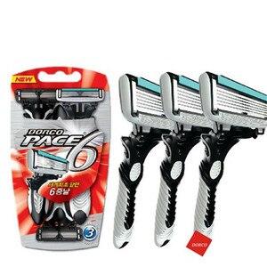 Image 1 - Lâmina de barbear masculina, 1 peça/3 peças barbeador elétrico dorco pace 6 camadas barbeador reto máquina de barba