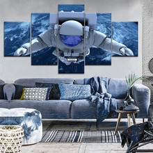 New 5 Piece HD Print Painting Astronaut Space Earth Cuadros Landscape Canvas Wall Art Home Decor For Living Room Picture