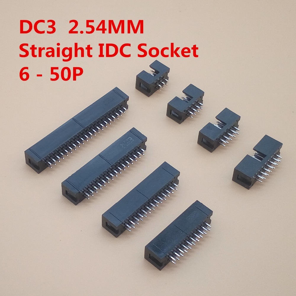 10PCS IDC Box Header DC3 Double-Row 6/8/10/12/14/16/18/20/24/26/30-50P JTAG Socket Connector Black 2.54mm Pitch