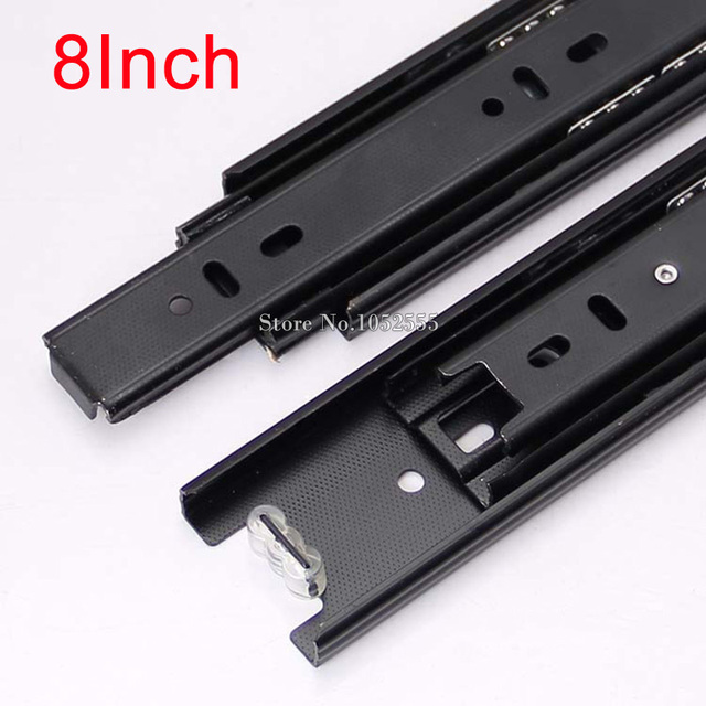 Hot Portable 3 Fold Telescopic Fully Extension 20cm Drawer Runner Slides Rail Heavy Duty K178