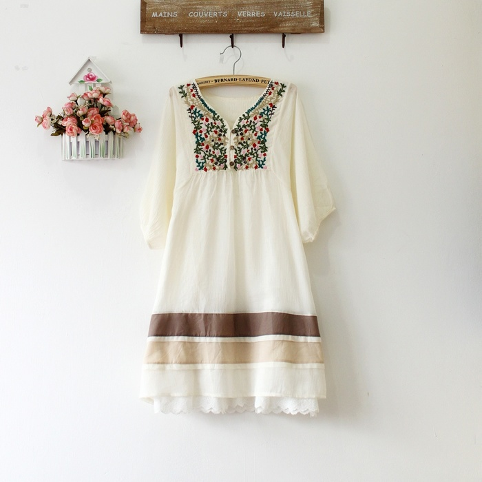 Aliexpress.com : Buy Vintage 70s Peasant Embroidered Mexican Dress ...