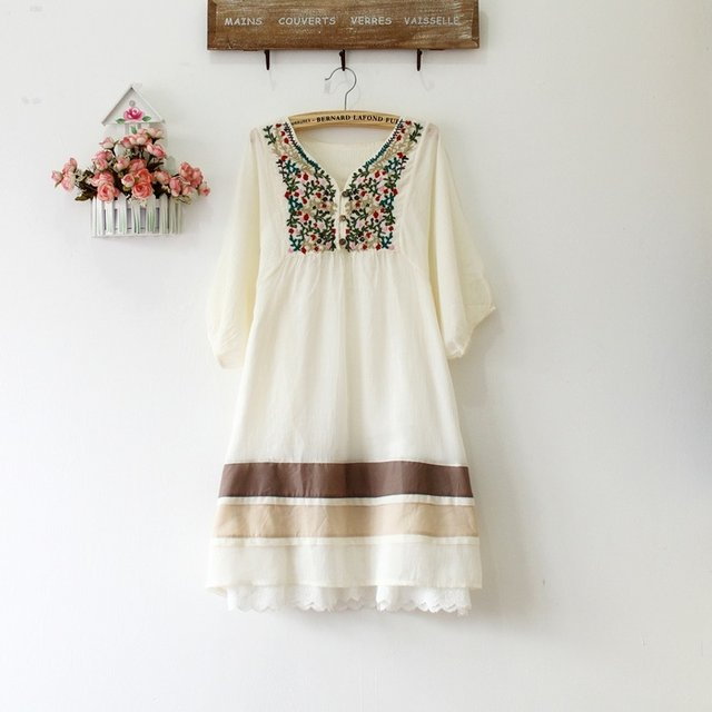 Online Shop Vintage 70s Peasant Embroidered Mexican Dress Bohemian