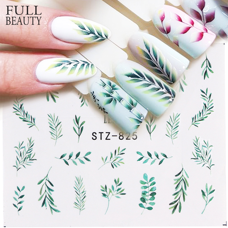 Full Beauty 1pcs Water Decal Sticker Flower Leaf Tree Green Simple Summer Slider