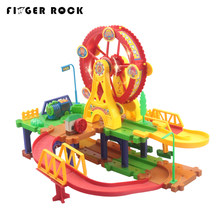 New Type Railway Train Set Assembly Magical Track Car Toys Racing Train Game Electronic Car Music Flashing Light Toys For Kids(China)
