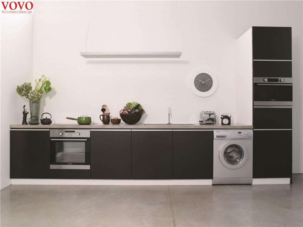 Matt lacquer kitchen cabinet black color-in Kitchen ...