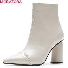 MORAZORA 2020 hot البيع حذاء من الجلد النساء أشار تو بوط من الجلد الطبيعي بسيط عالية الكعب فستان أحذية الخريف الشتاء الجوارب