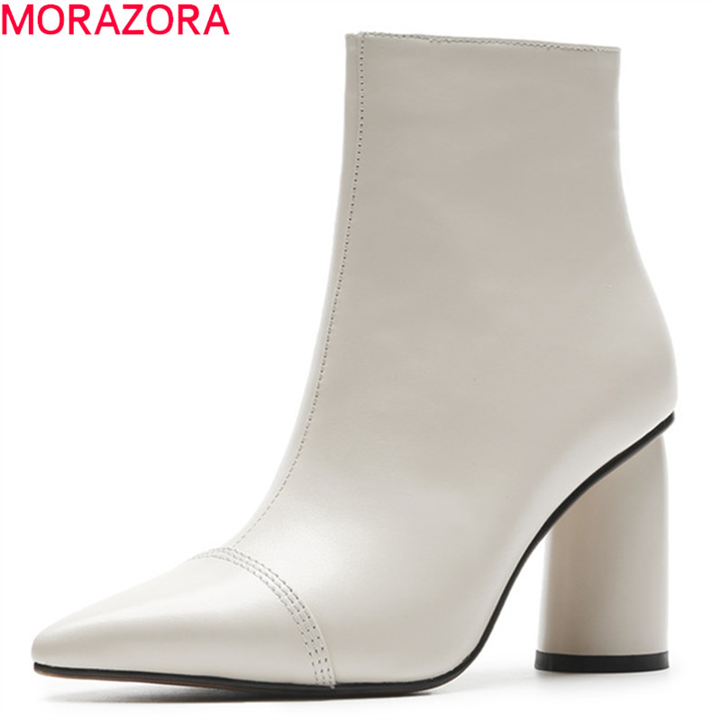 MORAZORA 2020 offre spéciale bottines femmes bout pointu en cuir véritable bottes simples talons hauts robe chaussures automne hiver chaussons-in Bottines from Chaussures    1