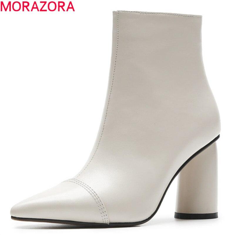 MORAZORA 2020 ホット販売アンクルブーツ女性のポインテッドトゥ本革ブーツシンプルなハイヒールドレスシューズ秋冬ブーツ  グループ上の 靴 からの アンクルブーツ の中 1