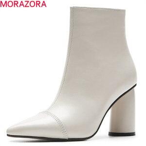 Image 1 - MORAZORA 2020 מכירה לוהטת קרסול מגפי נשים הבוהן מחודדת עור אמיתי מגפי פשוט עקבים גבוהים שמלת נעלי סתיו נעלי חורף