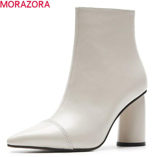 MORAZORA 2020 מכירה לוהטת קרסול מגפי נשים הבוהן מחודדת עור אמיתי מגפי פשוט עקבים גבוהים שמלת נעלי סתיו נעלי חורף