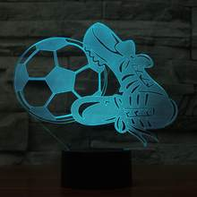 Novelty 7 Color Change 3D Atmosphere Nightlight Home Decor Soccer And Shoes  LED Football Life Desk Lamp Kid Gift Sleep Lightings f0aa8f9aa80a