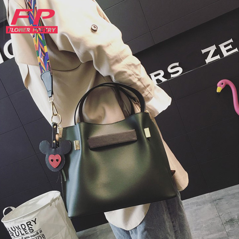 2017 Crossbody Bags Brand Women Panelled PU Leather Bucket Bag  Messenger Bags For Ladies Colorful Strap Solid Women Bucket Bags
