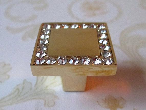 Glass Dresser Knobs Crystal Cabinet Handle Square Gold Clear / Modern  Drawer Pulls / Kitchen Knob Furniture Hardware