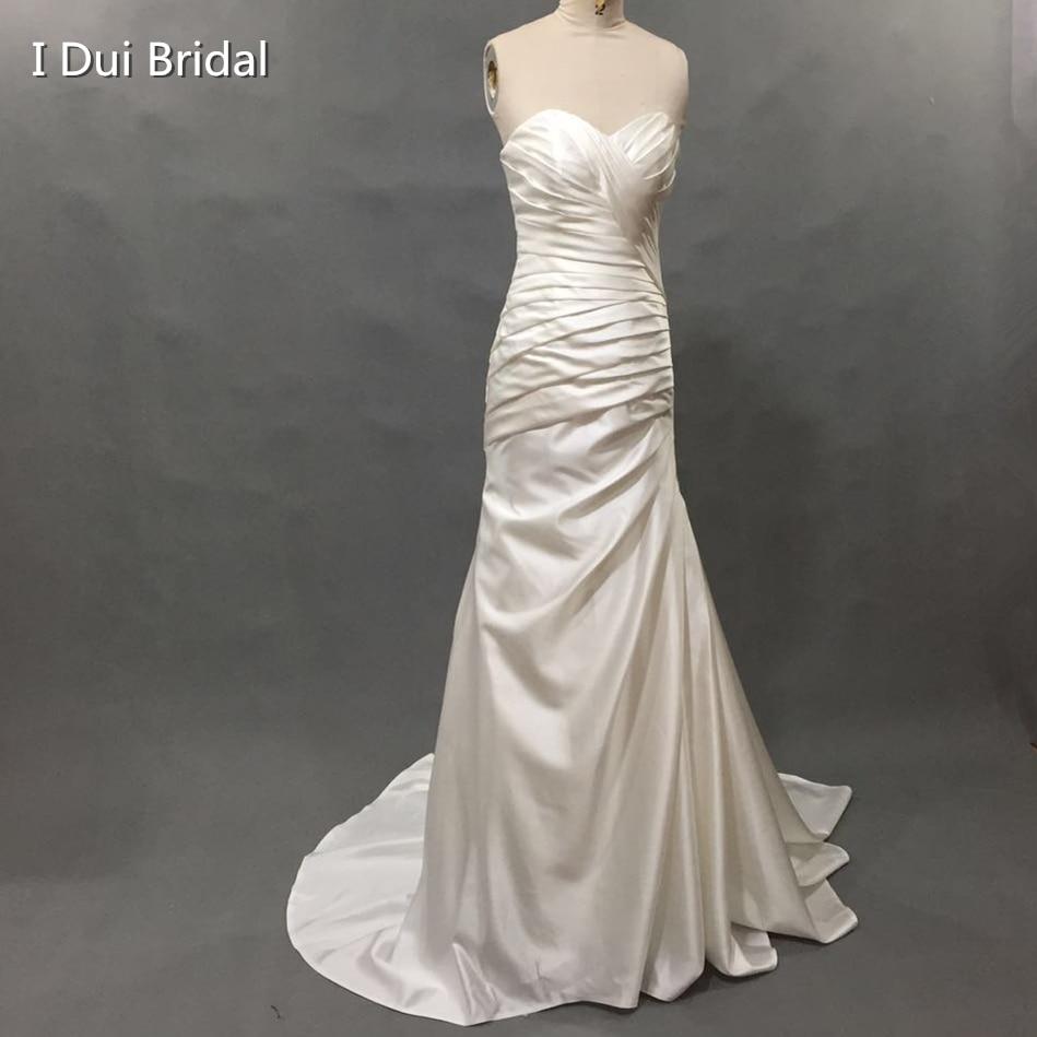 Sweetheart Neckline Simple Satin Pleated Wedding Dress