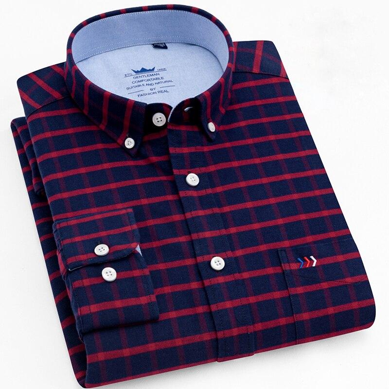 c78d089679c Men s Long Sleeve Plaid Striped Dress Shirts Single Front Chest ...