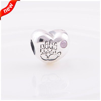 Genuine CKK 925 Sterling-Silver-Jewelry Beads DIY Fits Bracelet Charms Pink Baby Girl Charm Silver Beads for Women FL007