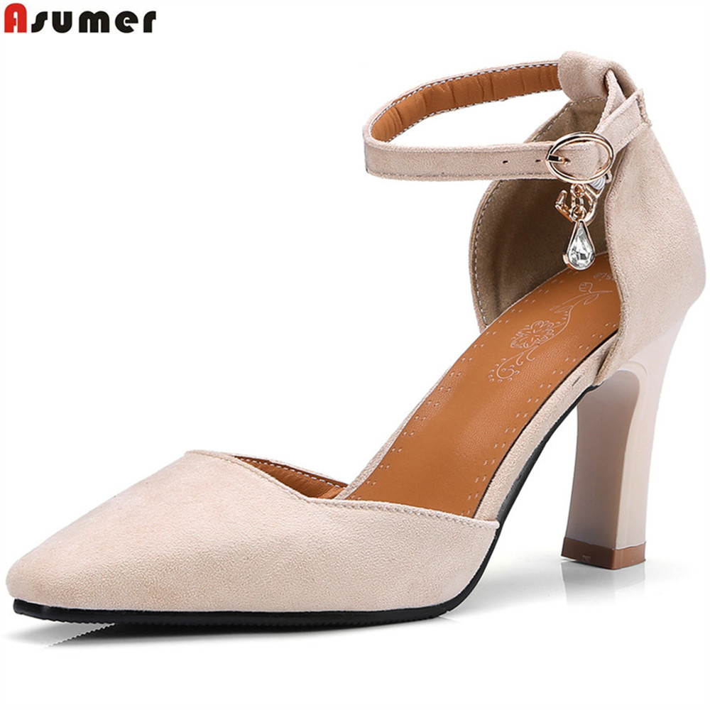 ASUMER black beige fashion spring autumn shoes woman buckle thick heel shallow wedding shoes women high heels shoes size 33-46 spring autumn shoes woman pointed toe metal buckle shallow 11 plus size thick heels shoes sexy career super high heel shoes
