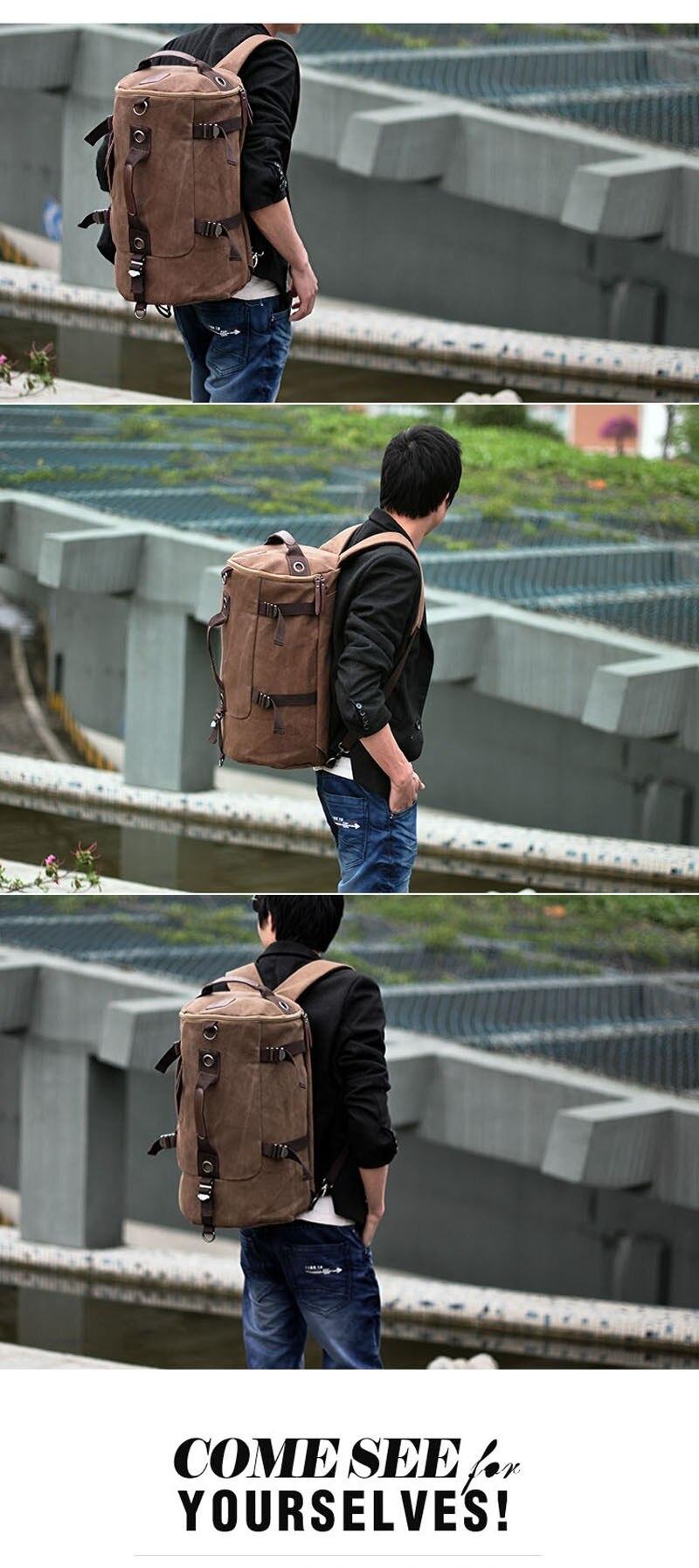 Men's Multi-Functional Backpack Vintage Shoulder Bag High Quality Canvas Male Bagpack Rucksack Travel Luggage for Weekend 38