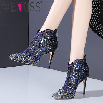 WETKISS Mesh Appliques Ankle Boots Women Pointed Toe Zip Footwear Crystal Shoes Female High Heels Shoes Woman Spring 2019 New