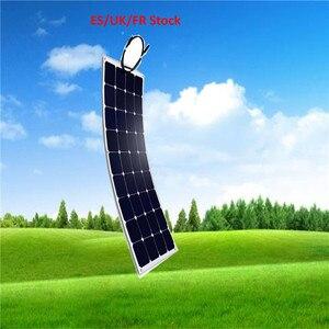Painel Solar 100 W Monocristalino Célula Solar Flexível para Carro/Barco/Navio A Vapor 12V 24 Volts 100 Watts bateria Solar ES/UK/FR Estoque